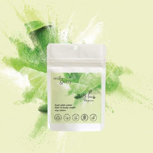lime and and body wash refill sachet on green background
