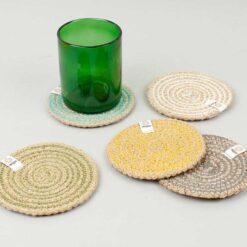 jute coasters on a table