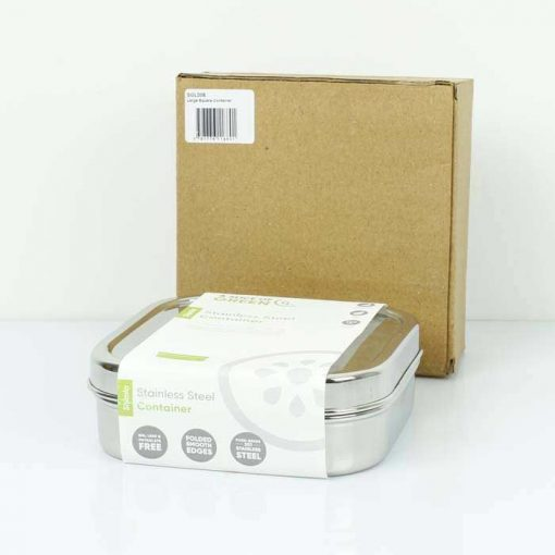 square stainless steel container next to packaging