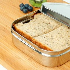 sandwich inside a square stainless steel container