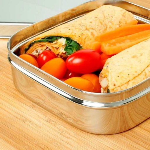 sandwich wrap inside a square stainless steel container