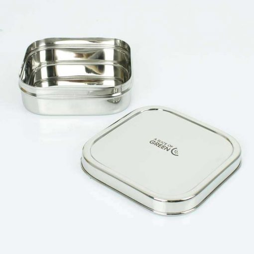 square stainless steel container with lid off