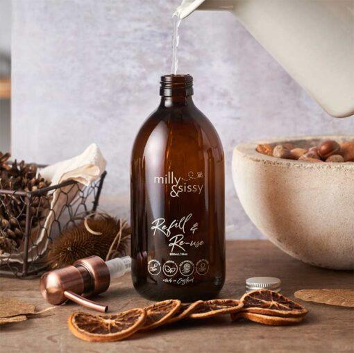 reusable bottle with bronze pump