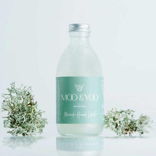 hand wash in glass bottle