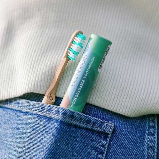 bambooth toothbrushes in back pocket