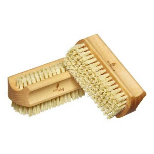 ecoliving natural nail brush on its side