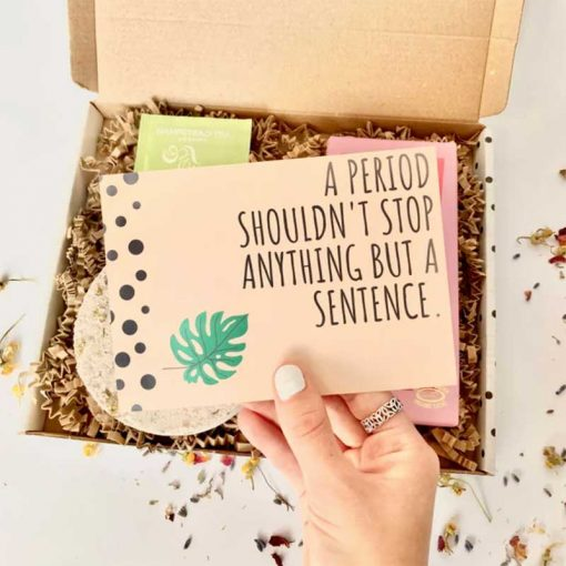 period self care box with paper insert