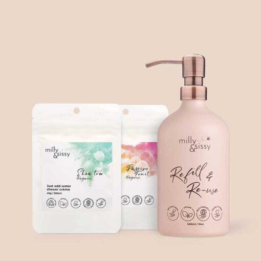 refillable shower gel creme set
