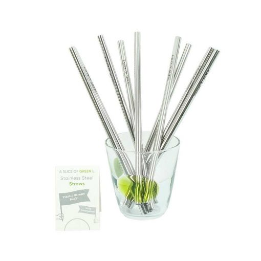 reusable metal straws in a glass