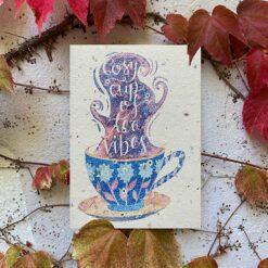 cosy tea vibes plantable card