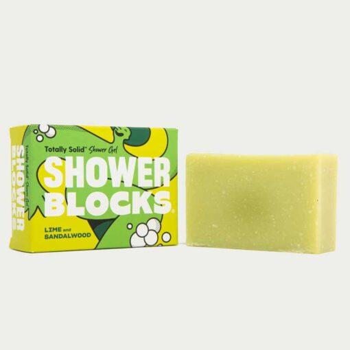 lime and sandalwood shower blocks soap bar
