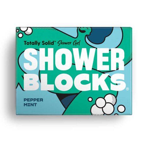 pepper mint shower blocks in cardboard packaging