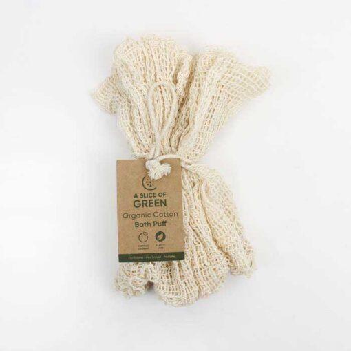 organic cotton body puff with kraft swing tag