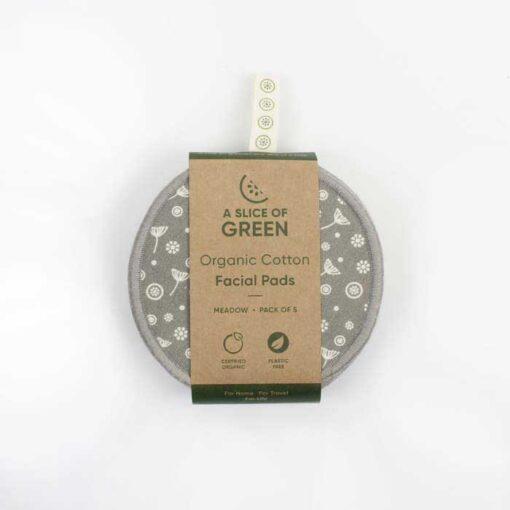 organic cotton facial pads in cardboard packaging