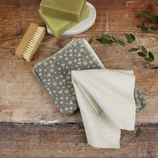 organic cotton reusable wipes on a chopping board