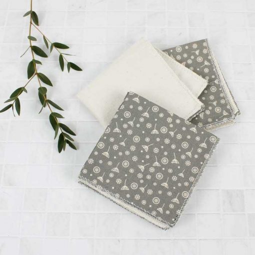 organic cotton reusable wipes on granite worktop