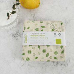 organic cotton unpaper towels on kitchen side