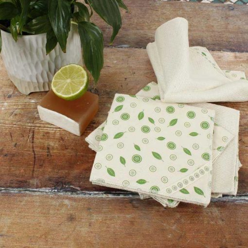 organic cotton unpaper towels on a wooden table