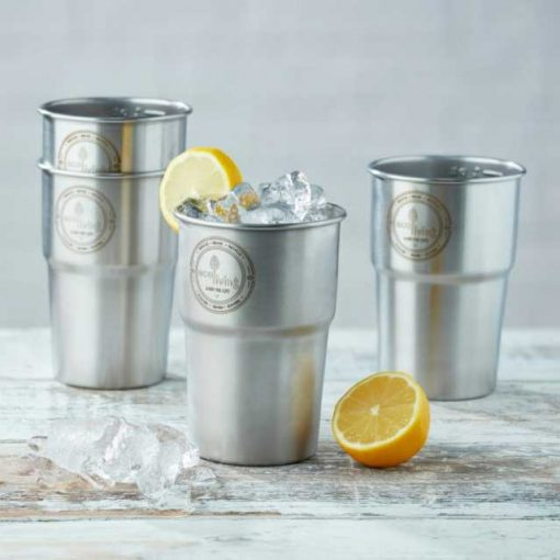 UK made stainless steel pint cups on kitchen side