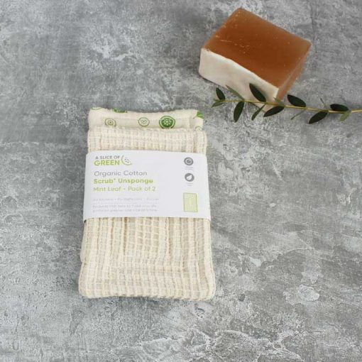 organic cotton scrub unsponge next to soap bar