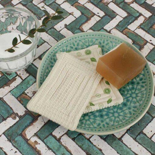 organic cotton scrub unsponge on a soap dish