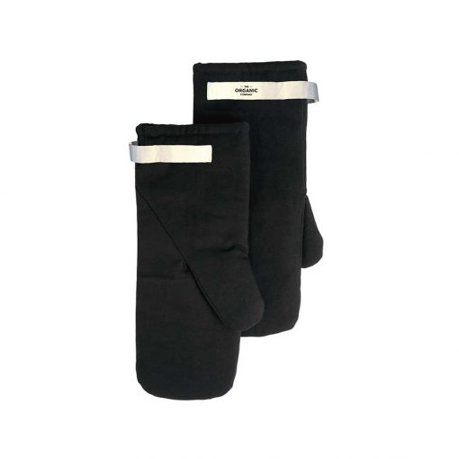 organic cotton oven mitts in black
