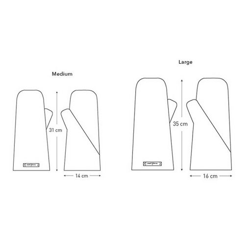 organic cotton oven mitts technical drawing