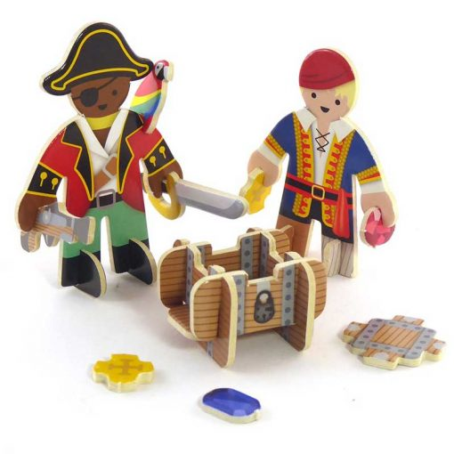 pirate playset figures next to chest of gold