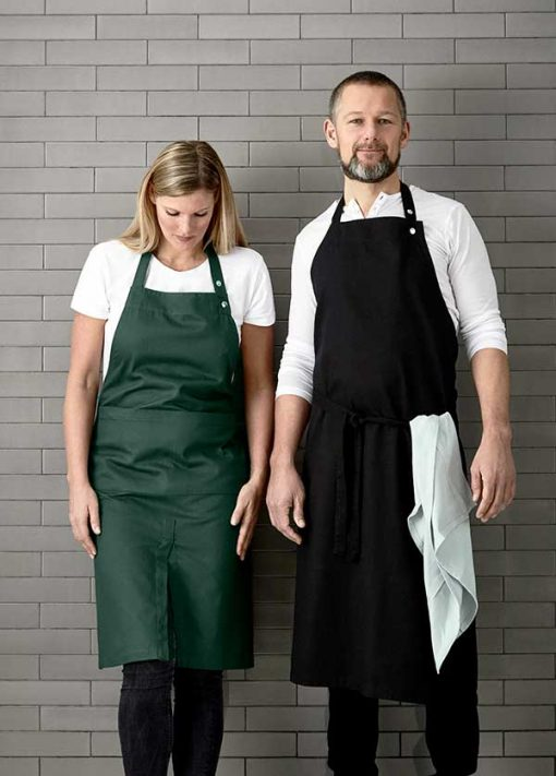 mand and woman wearing cotton aprons