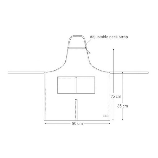 cotton apron technical drawing
