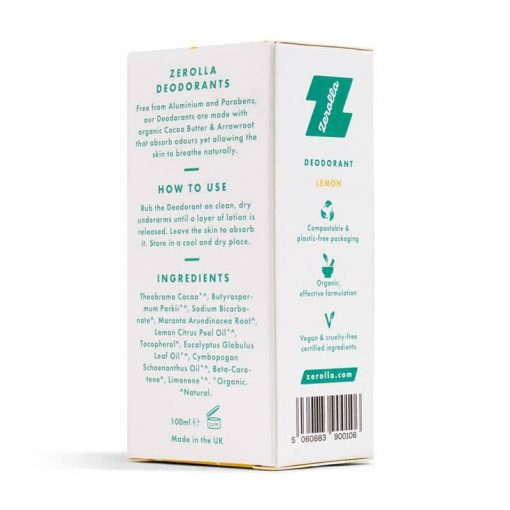 reverse of packaging for a solid deodorant bar
