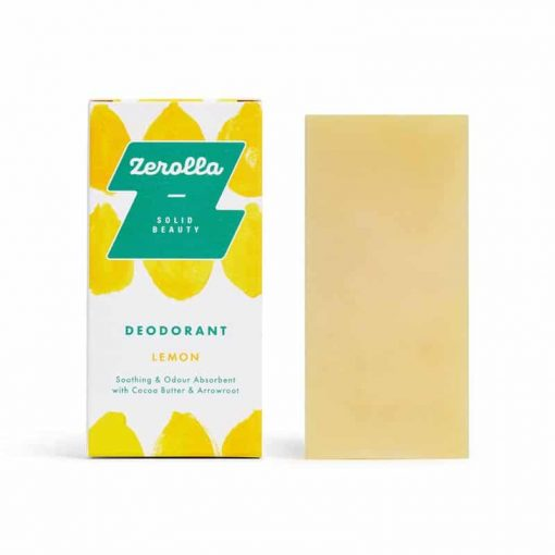 solid deodorant bar next to packaging