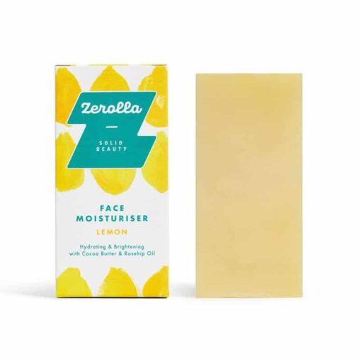 solid face moisturiser next to packaging