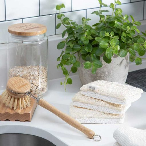 compostable sponges next to kitchen sink