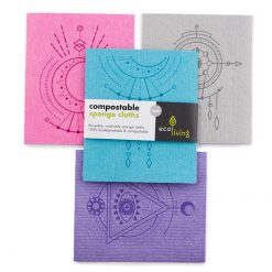 compostable sponge clothes with colourful prints