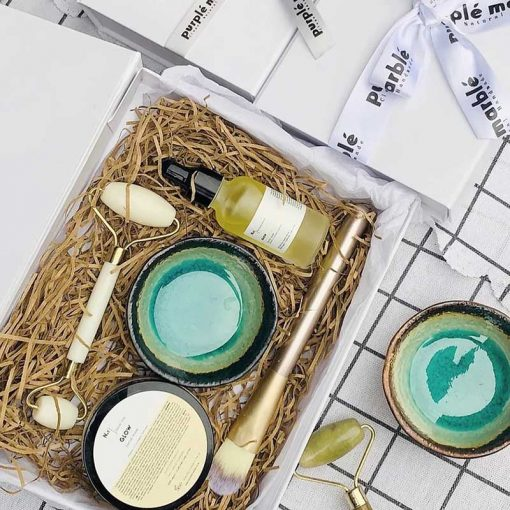 purple marble face mask gift set