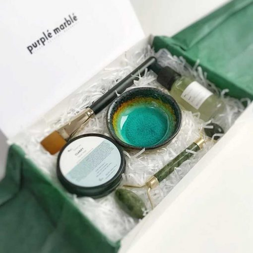 facial clay mask gift set with bowl and jade roller