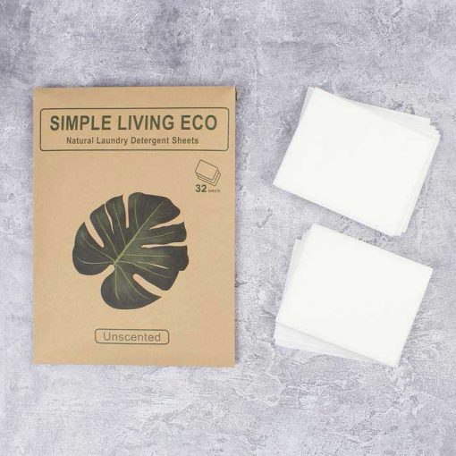 unscented laundry detergent sheets on worktop