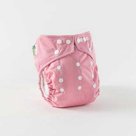 little lamb one size nappies in pink
