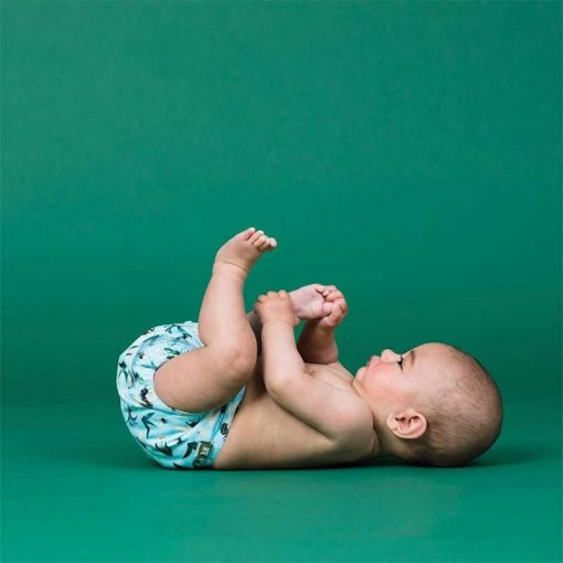 baby wearing a reusable nappy with green background