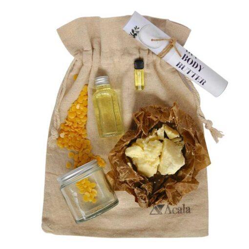 diy body butter kit in cotton drawstring bag