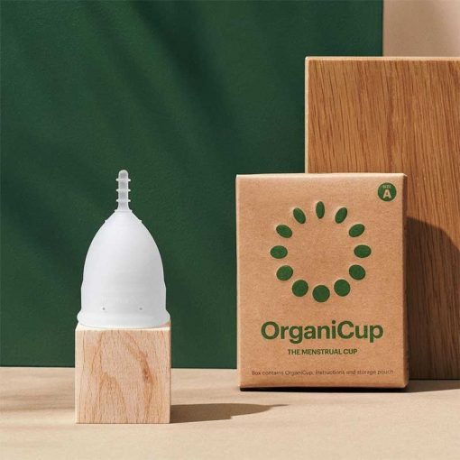 organicup menstrual cup on a stand