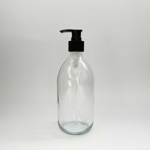 clear glass pump bottle