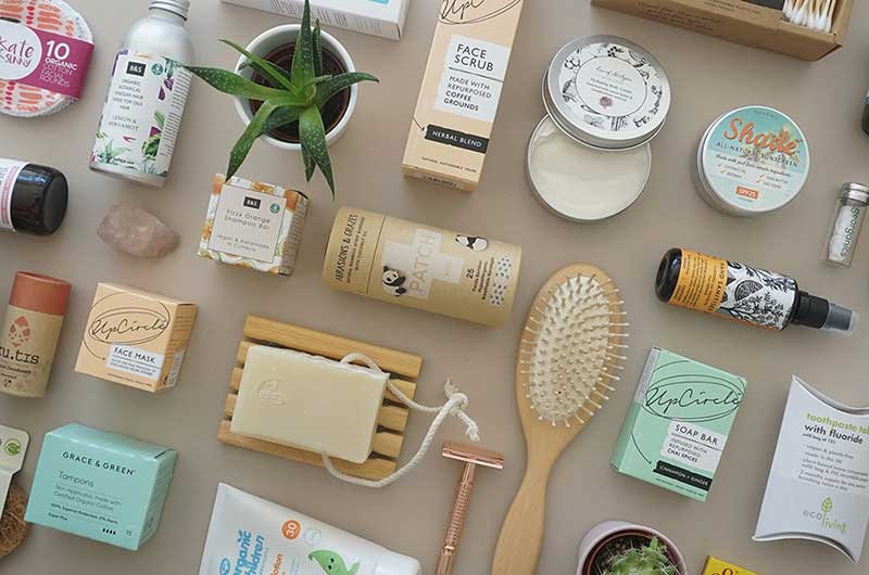 eco friendly products on a cream background