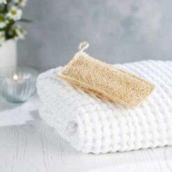 kitchen and bathroom scrubbing loofah on a towel