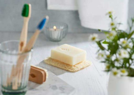 natural loofah soap rest in bathroom