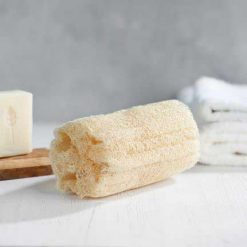 ecoliving natural body loofah in a bathroom
