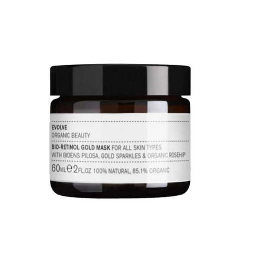 evolve bio retinol gold face mask in glass jar