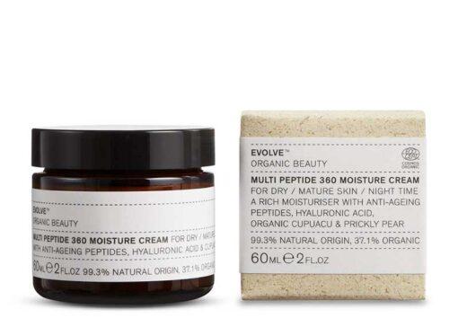 Evolve Multi-Peptide 360 Moisture Cream next to packaging