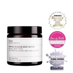 Evolve Tropical Blossom Organic Body Butter wth awards